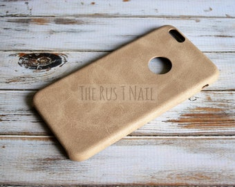 FREE SHIPPING - Personalized Beige iPhone 6 Plus Ultra Slim Leather Case