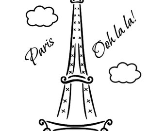 Paris Eiffel Tower Ooh La La Vinyl Wall Door Art Decal Removable Sticker Oracal Kitchen