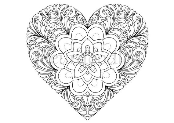 coloring page heart printable download love by fleurdoodles. Black Bedroom Furniture Sets. Home Design Ideas