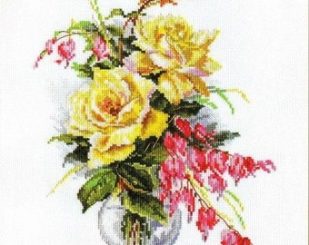 Cross Stitch Kit by Alisa - Yellow Roses - Flowers cross stitch Roses Embroidery Gift for her