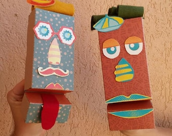 DIY kits/Papercraft/Toys & Games/Paper toy/Purim Gift/Christmas Gift/Hand puppet/Paper pupet/Kids gift/Make your own puppet/Organic toys