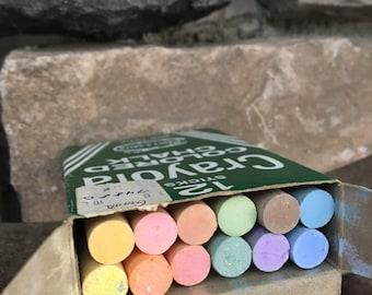 Vintage Crayola Colored Chalk Unused Complete Box 12 Count