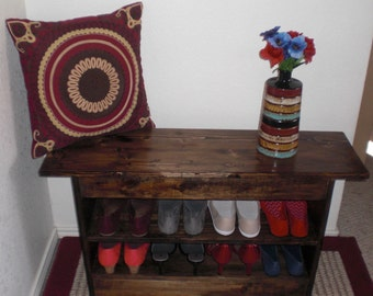 Colonial Rustic Entryway Bench with Shoe Storage Shelf / TV Stand with Shelf