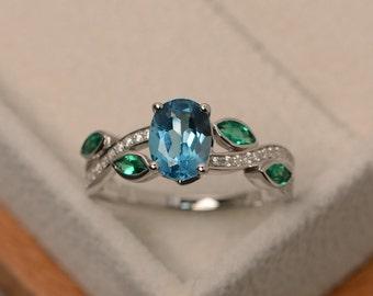 Swiss blue topaz ring, sterling silver, blue gemstone ring, leaf ring, multistone ring, oval cut
