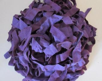 Purple wool fabric strips for braided rugs or rug hooking