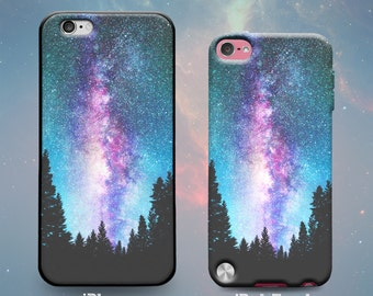 Universe Galaxy Space Trees Night Sky Milky Way Rubber Case for iPhone 7 Plus iPhone 7 iPhone 6s 6 Plus iPhone 5s 5 5c iPhone SE iPod Touch