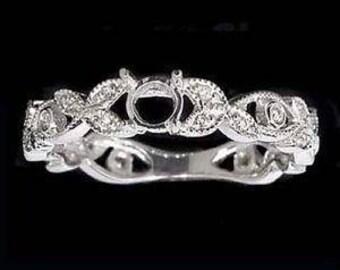 Vintage Inspired Semi Mount Round Diamond Engagement Ring Setting Floral Natural Wedding 4513