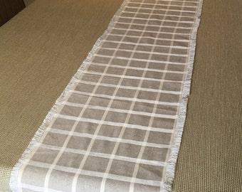 """Linen table runner/ beige gray table runnet/12""""x96"""" large table runner"""
