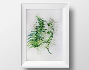 Watercolor print, minimalism art, Fern art, watercolor art, Kitchen decor, watercolor fern, watercolor Art, garden gift, fern art, art OOAK