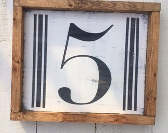 Family number wood sign, number sign, wooden number sign, number 4 sign, number 5 sign, farmhouse decor