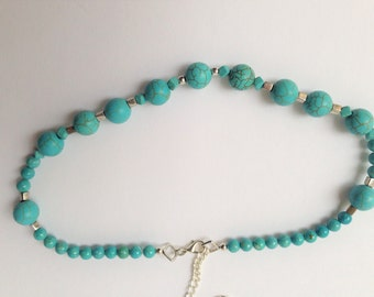 turquoise necklace, chain, turquoise, women necklace, teen necklace, bisuteria, accesories, gift for her