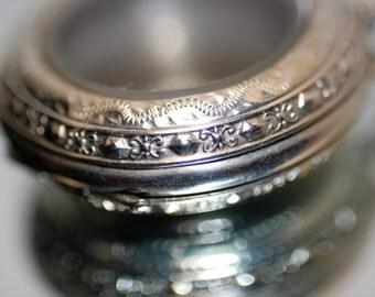 Vintage 800 silver watch/locket pendant; floral engraved silver locket; vintage watch case pendant