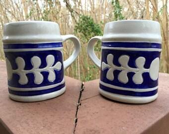 Pair of Williamsburg Pottery Salt Glaze Steins/Mugs