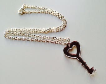 Key | Lock | Heart | Sailor Moon | Alice In Wonderland | Laser Cut | Acrylic | Silver Mirrored | Necklace