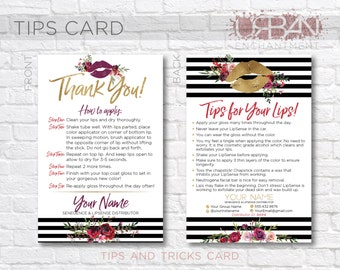 LipSense Application Card -- Striped Floral -- Thank You Card - Tips and Tricks - Tips/Tricks - Instructions - SeneGence - Business Car