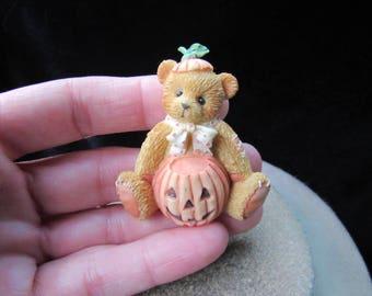 Vintage Halloween Ceramic Teddy Bear Pumpkin Pin By Boyds Bear