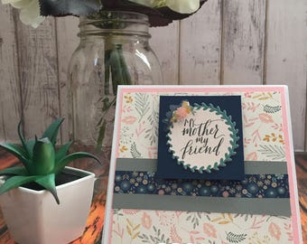 Handmade Mother's Day Card, Floral Mother's Day Card, Navy Mother's Day Card, My Mom my Friend