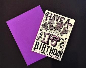 purple black and white customized birthday year card