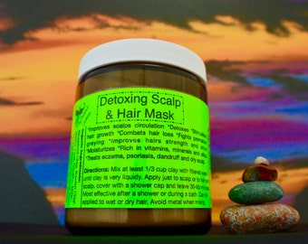 Detoxifying Hair and Scalp Mask-Organic-9oz/ Fights hair loss/ Strengthens hair, nourishes, moisturizes.