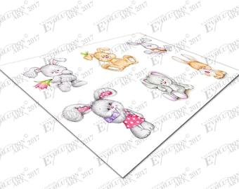 Print on Canvas Bunnies Rabbits Kids Animals X1567