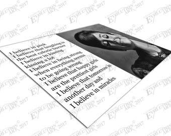 Print on Canvas Audrey Hepburn quote I believe in pink  X1614