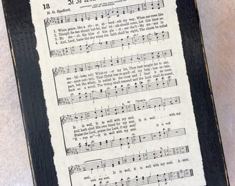 It Is Well Vintage Hymn Sign Display