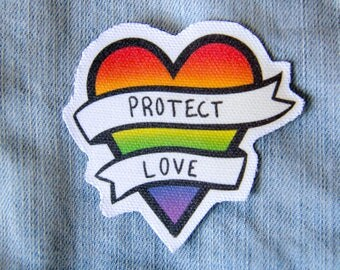 """LGBT Rainbow Heart Patch - Canvas Sew On - """"Protect Love"""" Pride Quote Accessory - Gay & Lesbian Gift"""