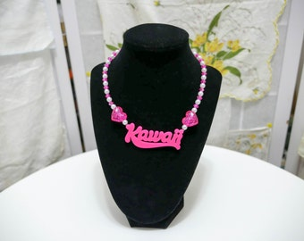 Hot Pink Kawaii Name Plate Necklace - So Kawaii !! J-fashion Decora Lolita Fairy Kei