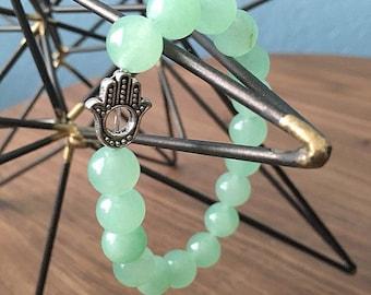 10mm Aventurine Gemstone Bracelet, Yoga Bracelet, Hamsa Bracelet, Light Green Bracelet, Moonflower Beads, Beaded Bracelet, Stackable Braclet