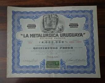 "1944, Stock bond - Bond certificate ""Uruguayan metallurgy"""