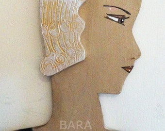 """SALE Vintage Style Art Deco theme wall plaque,  """"Flat Betties"""" , Wall decoration , Jewellery Holder,  """"Pearl"""""""