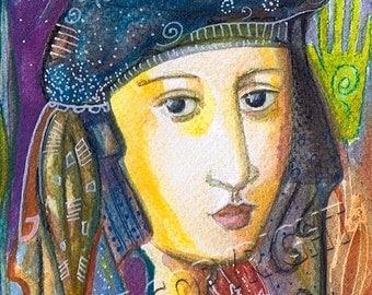 "Goddess series ""Astral Goddess"" Art Print of original watercolor"