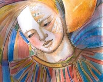 "Goddess series ""Clown Goddess""  Art Print of original watercolor"