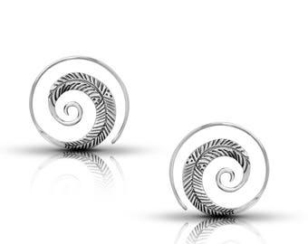 silver spiral earrings,hoop spiral earrings,spiral jewelry,silver earrings,tribal earrings,gypsy earrings,ethnic spiral earrings,boho chic