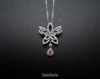 0.09 Carat Pink Diamond Necklace