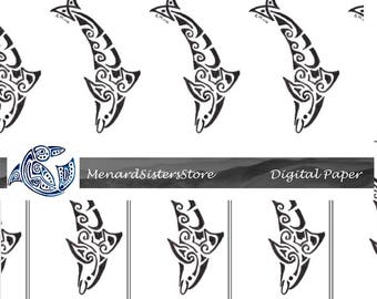 Digital Papers - instant download - dolphin -tatoo -stickers