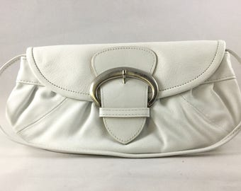 White Leather Purse - Leather Shoulder Bag by Prune - Summer Purse
