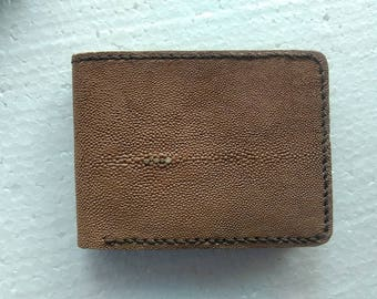 Handmade Stingray Leather Wallet Hand Stitched Wallet purse - Cream