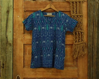 CLEARANCE vintage blue india block print cotton top S M
