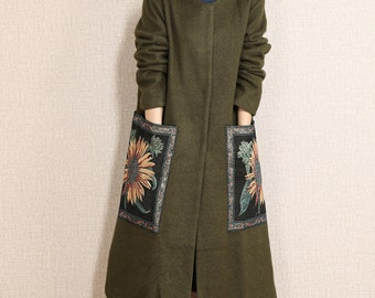 Green wool jacket long length wool coat outwear wool cape long cloak with two big pockets plus size winter coat plus size clothing