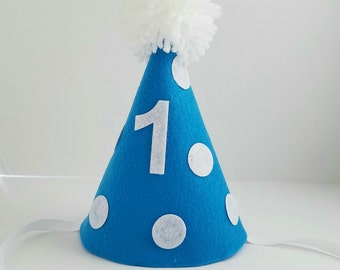 Boy first birthday hat, blue birthday hat, 1st birthday, cake smash hat
