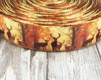"1"" Deer ribbon - Fall ribbon - Animal ribbon - Hunting ribbon - I love deer - Nature ribbon - Fall colors - DIY fall bow - DIY animal bows"