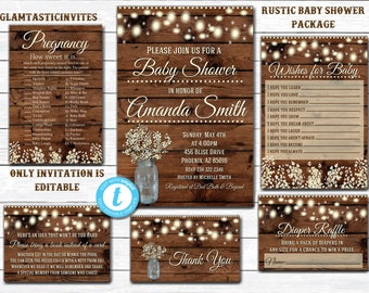 RUSTIC Baby Shower Invitation, Flower Baby Shower Invitation, Wood Baby Shower Invitation, Country Baby Shower, INSTANT DOWNLOAD, Template