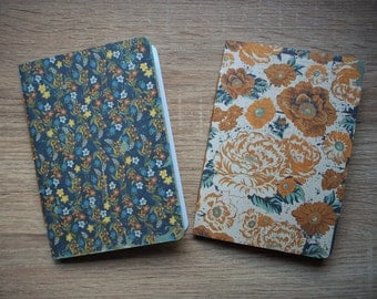 Rustic botanical notebooks with double-sided covers in blue and ochre--set of 2
