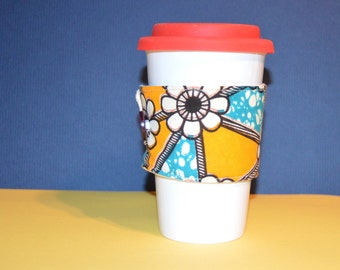 Coffee Cozy, Afrocentric Gifts, Coffee Sleeve, Ankara Home Decor, Tea Sleeve