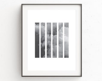 Clouds Wall Print, Cloud Print Art, Digital Print, Minimalist Black and White Wall Print, Modern Photography Print, Black White Photography