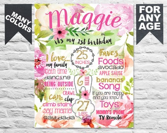 Printable First Birthday Party sign poster - Watercolor Flowers 1st birthday board for a girl - Boho Floral milestone pink gold (317)