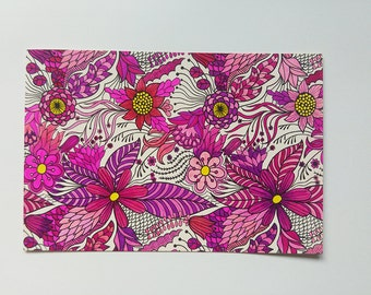 Pink and purple floral postcard