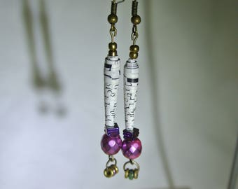 Paper bead earrings: Pink, purple and gold