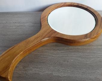 Wood hand mirror, canarywood